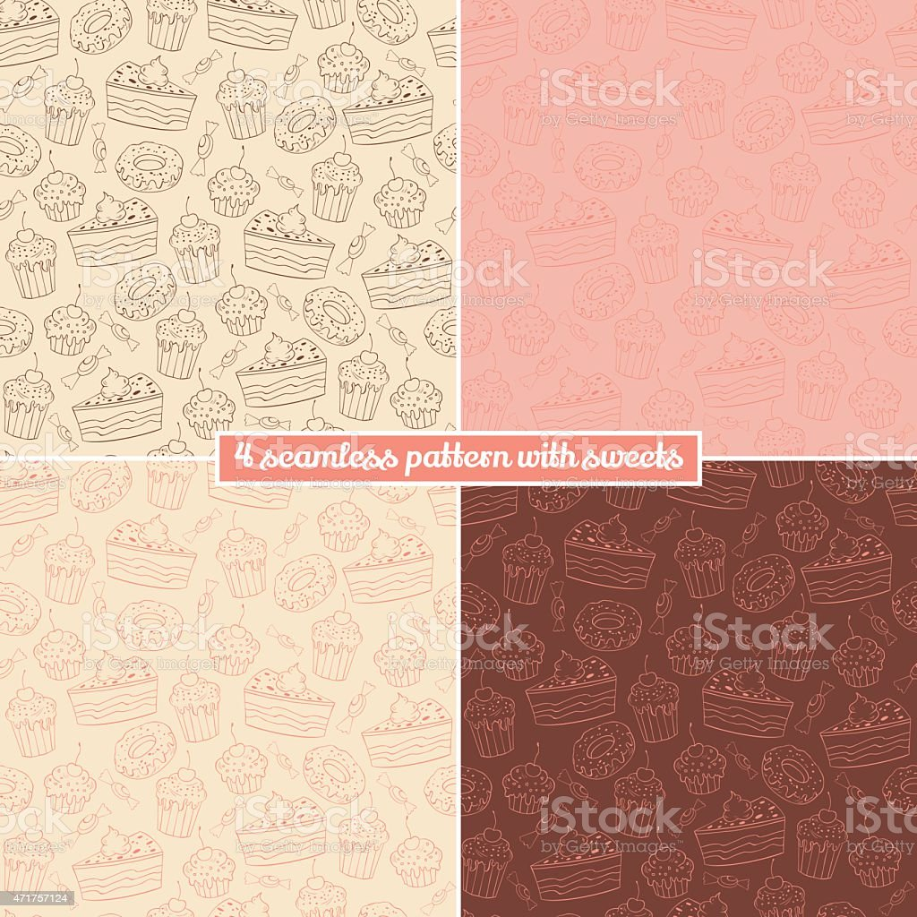 Set of four seamless pattern with sweets vector art illustration