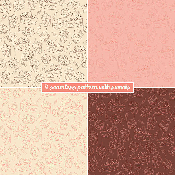 Set of four seamless pattern with sweets Collection of seamless vector pattern with muffins, sweets, donuts and cakes candy patterns stock illustrations