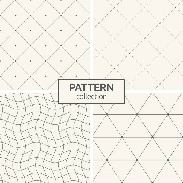 Set of four seamless patterns. Set of four seamless patterns. Abstract geometrical trendy vector backgrounds. Linear style. Modern stylish textures with triangles, dots, wavy lines, dotted lines, rhombuses made of lines and dots. fragility stock illustrations