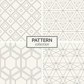 Set of four seamless patterns. Abstract geometrical trendy vector backgrounds. Linear style. Modern stylish textures with repeating rhombuses, lines, triangles.