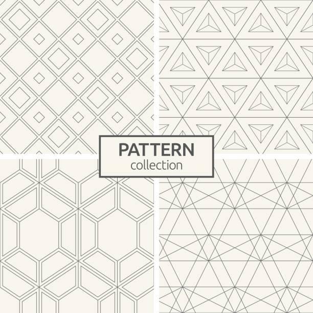 satz von vier seamless pattern. - mosaikböden stock-grafiken, -clipart, -cartoons und -symbole