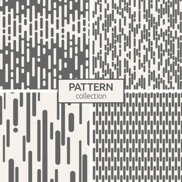Set of four seamless patterns. Set of four seamless patterns. Abstract geometric trendy vector backgrounds. Modern stylish textures of irregular rounded lines. Halftone transition. Flat design. Contemporary graphic design. hyphen stock illustrations