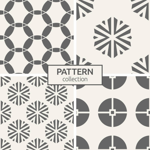 Set of four seamless patterns. Set of four seamless patterns. Abstract geometric trendy vector backgrounds. Modern stylish textures. Ornate triangular shapes forming hexagons. Geometric ornaments. Circles. fabric swatch stock illustrations