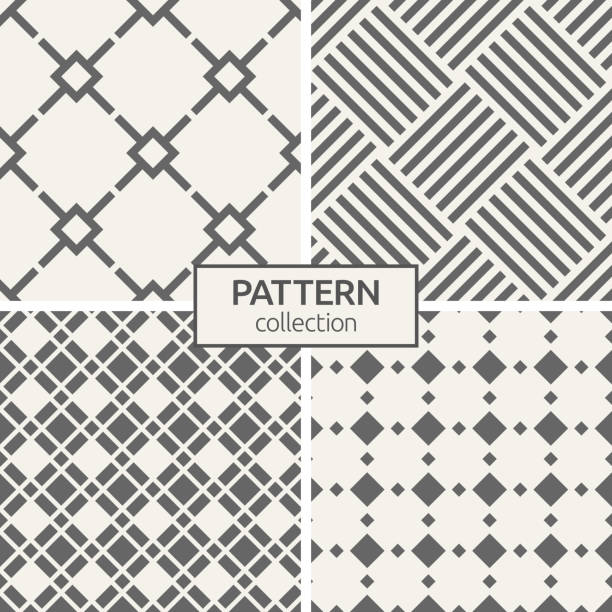 Set of four seamless patterns. Set of four seamless patterns. Abstract geometric trendy vector backgrounds. Modern stylish textures of regularly repeating geometric lattice ornament, diagonal stripes, rhombuses. fabric swatch stock illustrations