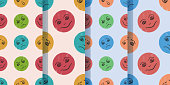 Set of four seamless patterns with funny cartoon comic faces in modern style. Children's drawing. Vector illustration. Set of four seamless patterns with funny cartoon comic smileys in modern style. Children's drawing. Clipping mask applied.