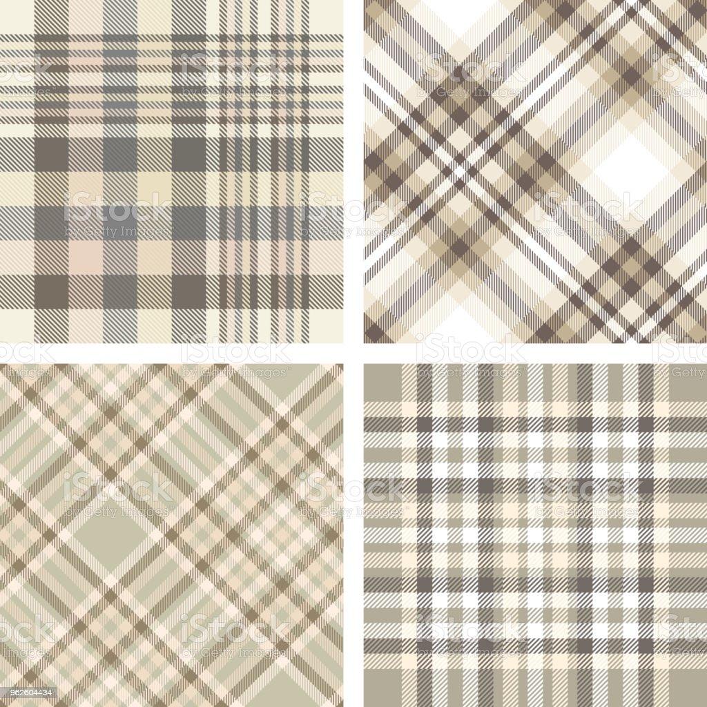 ベージュ、タン、ベージュ、ブラウンの色合いで 4 つのシームレスなプラッド チェック パターンのセットです。 ベクターアートイラスト