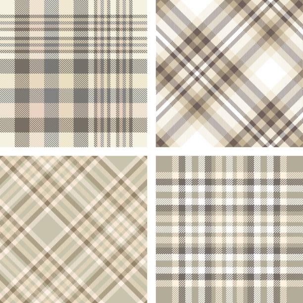 ベージュ、タン、ベージュ、ブラウンの色合いで 4 つのシームレスなプラッド チェック パターンのセットです。 - 秋のファッション点のイラスト素材/クリップアート素材/マンガ素材/アイコン素材