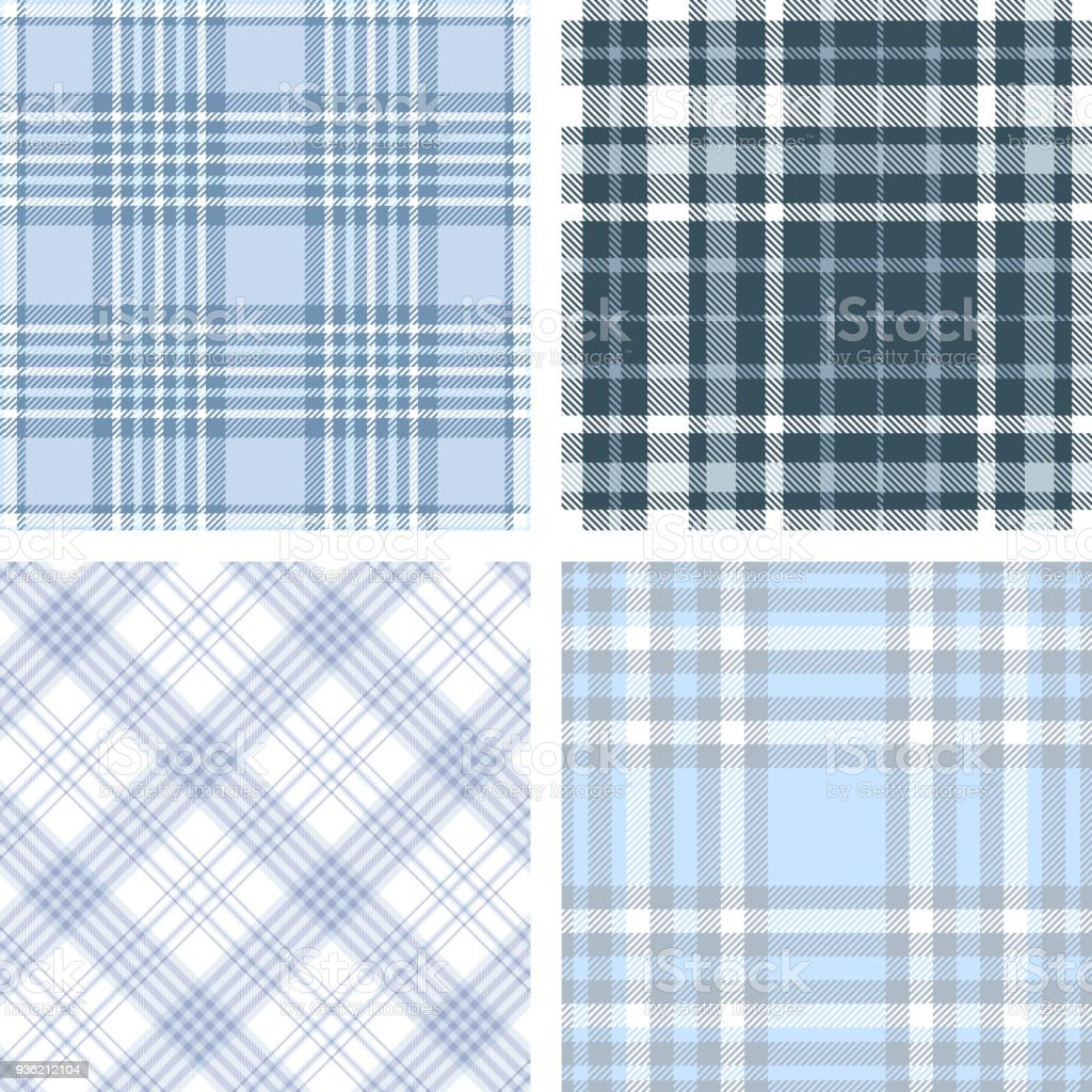 Set of four seamless tartan plaid patterns in shades of blue and white. vector art illustration