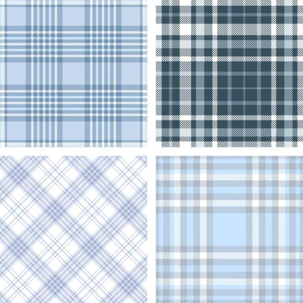 ilustraciones, imágenes clip art, dibujos animados e iconos de stock de conjunto de cuatro patrones plaid tartan transparente en tonos de azul y blanco. - fondos de franela