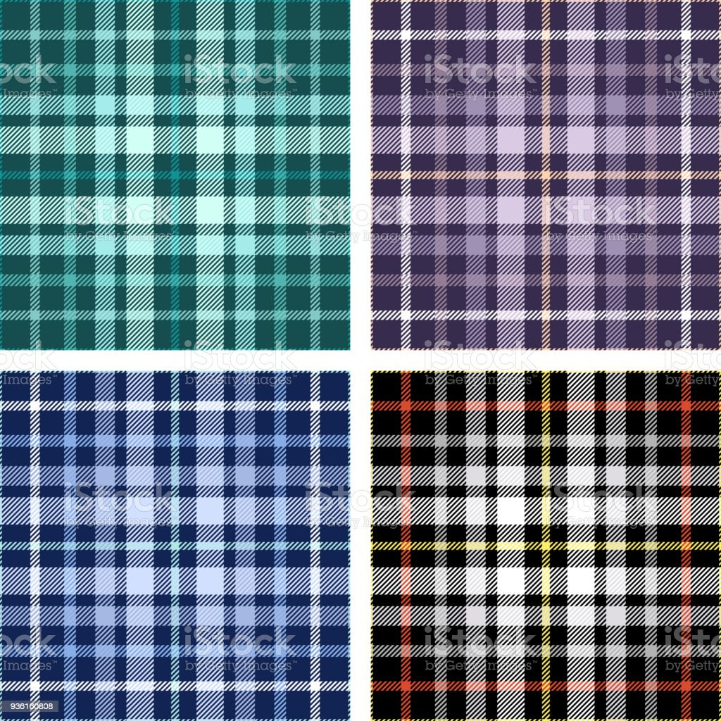 Set of four seamless tartan plaid patterns in shades of green, purple, blue and black. vector art illustration