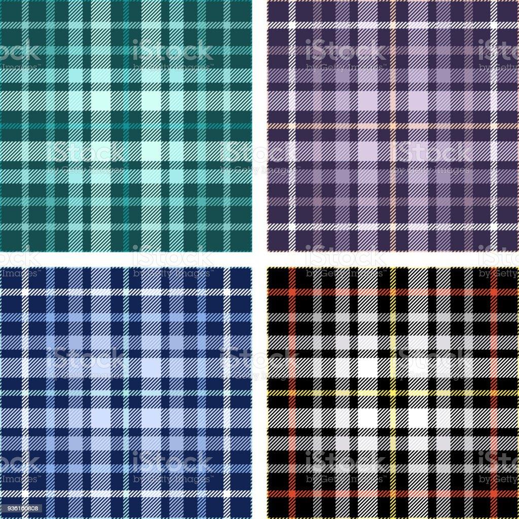 Conjunto de cuatro patrones de cuadros tartán transparente en tonos de verde, morado, azul y negro. - ilustración de arte vectorial