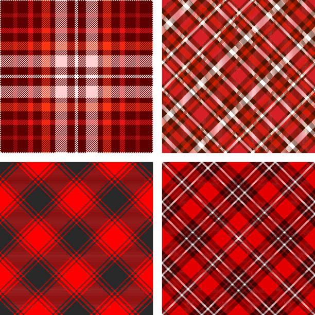 ilustraciones, imágenes clip art, dibujos animados e iconos de stock de conjunto de cuatro patrones plaid tartan transparente en tonos rojos. - fondos de franela