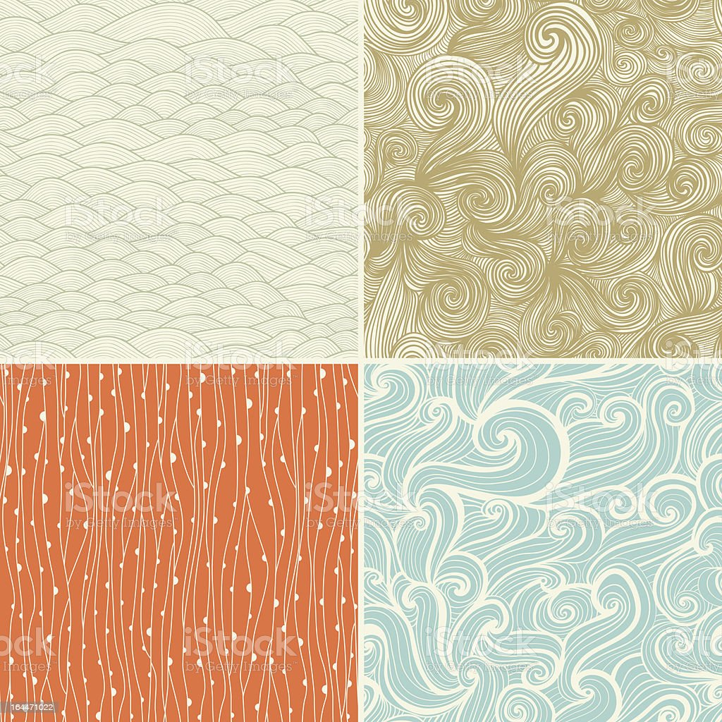 Set of four seamless wave hand-drawn pattern royalty-free stock vector art