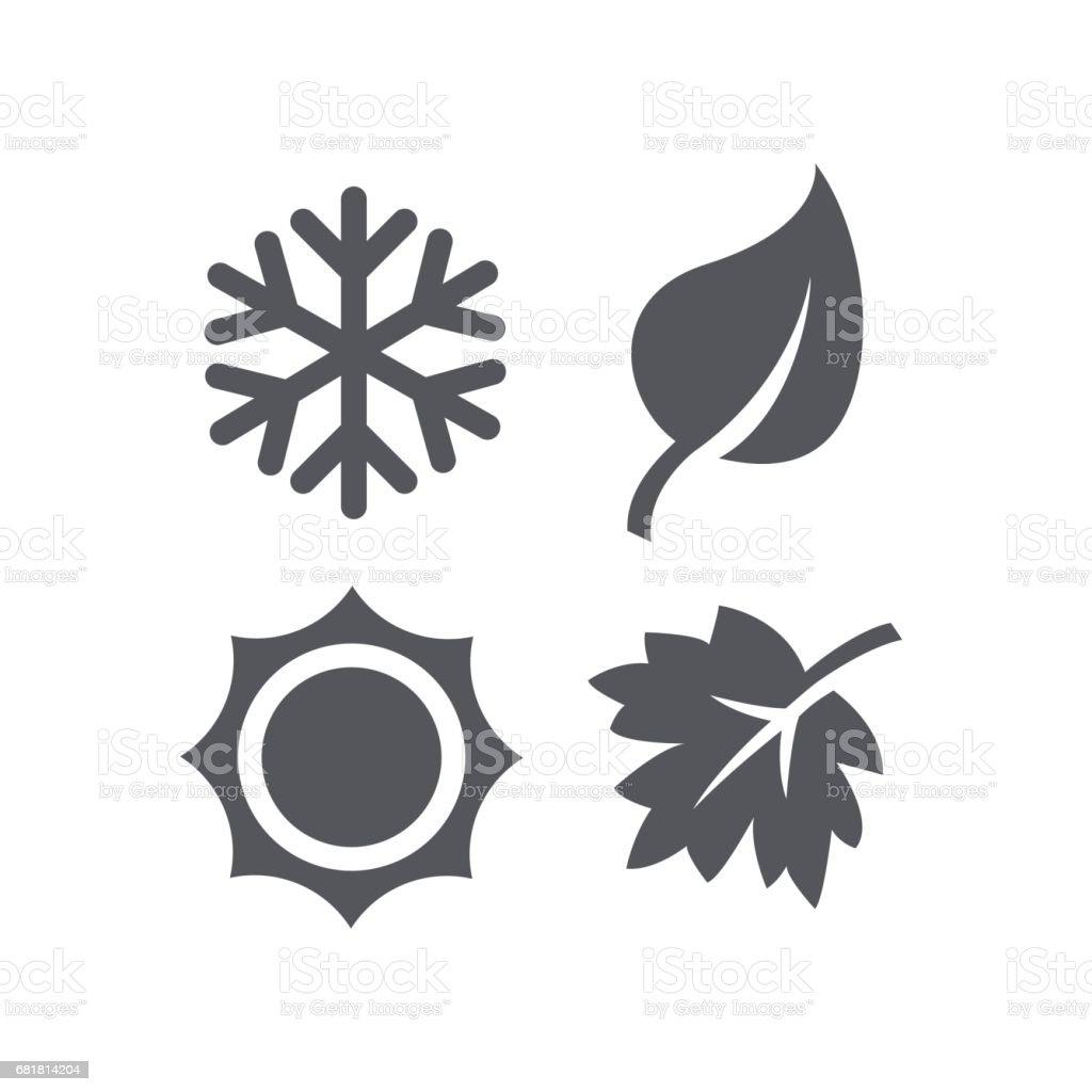 Un conjunto de cuatro iconos de las estaciones. - ilustración de arte vectorial