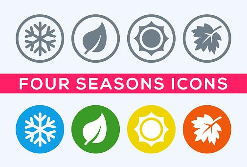 A Set Of Four Seasons Icons — стоковая векторная графика и другие изображения на тему Иконка - iStock