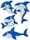 Set of four shark cartoons in different poses on white back