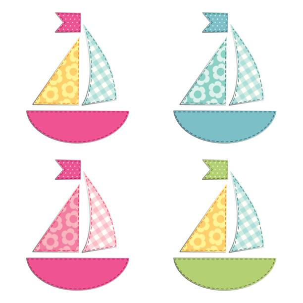 Set of four ships as retro fabric applique as baby shower elements vector art illustration