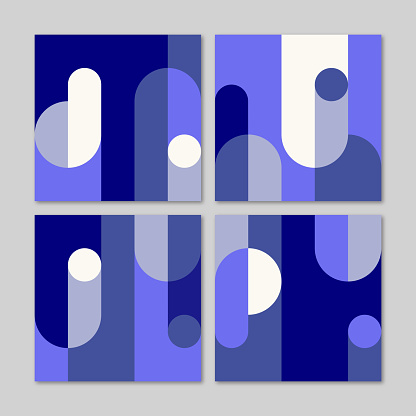 Set of four square pattern designs with flat geometric style