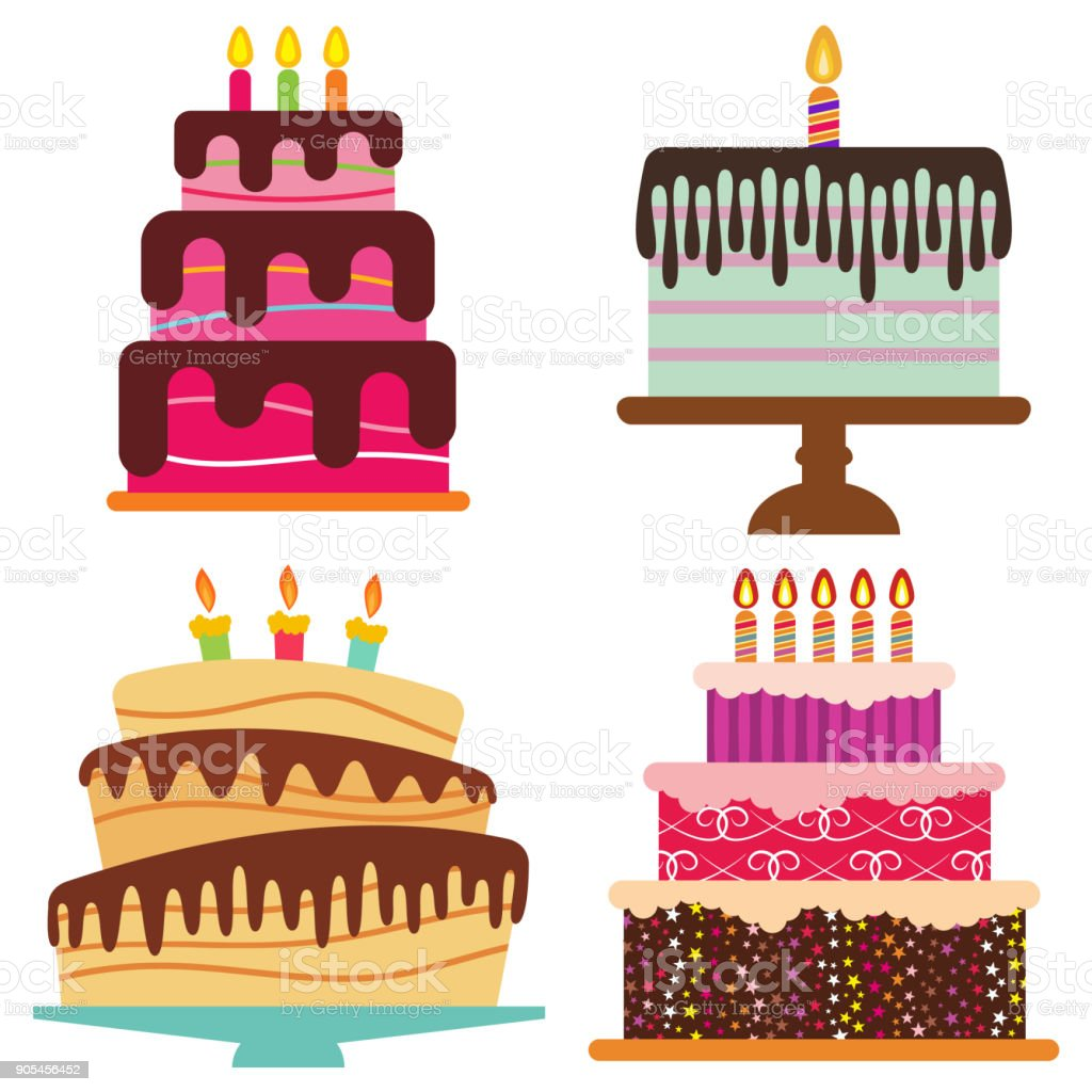 Set of four sweet birthday cake with burning candles vector art illustration