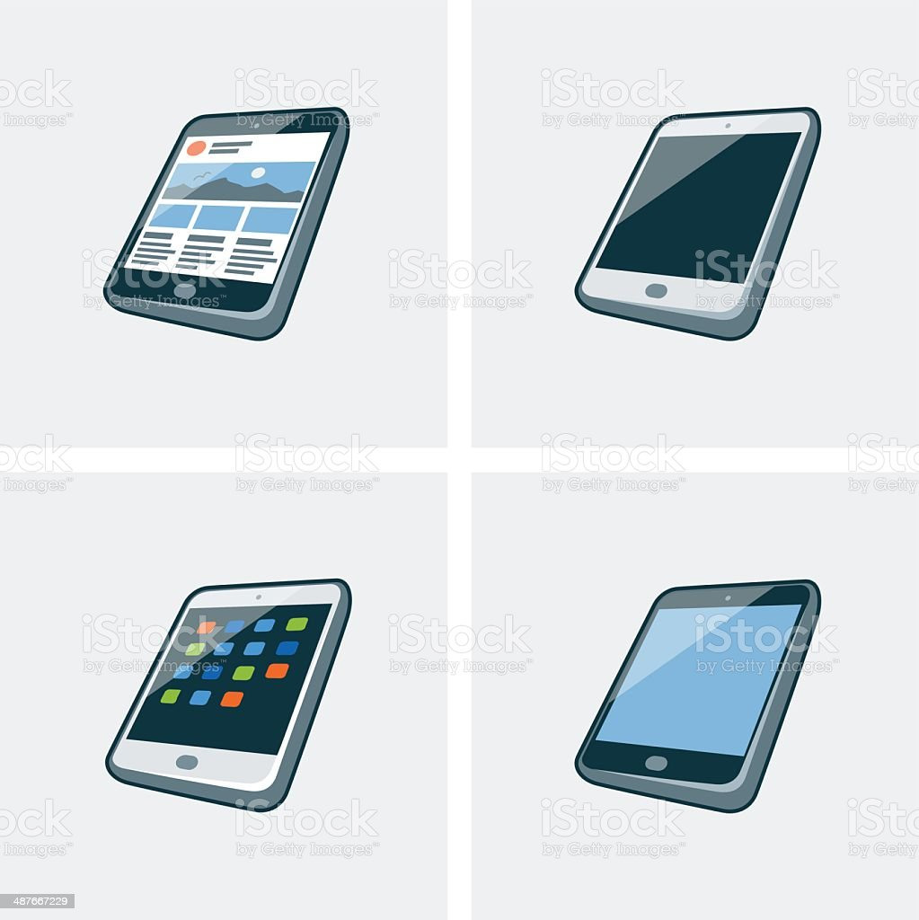 Set of four tablet icons royalty-free stock vector art