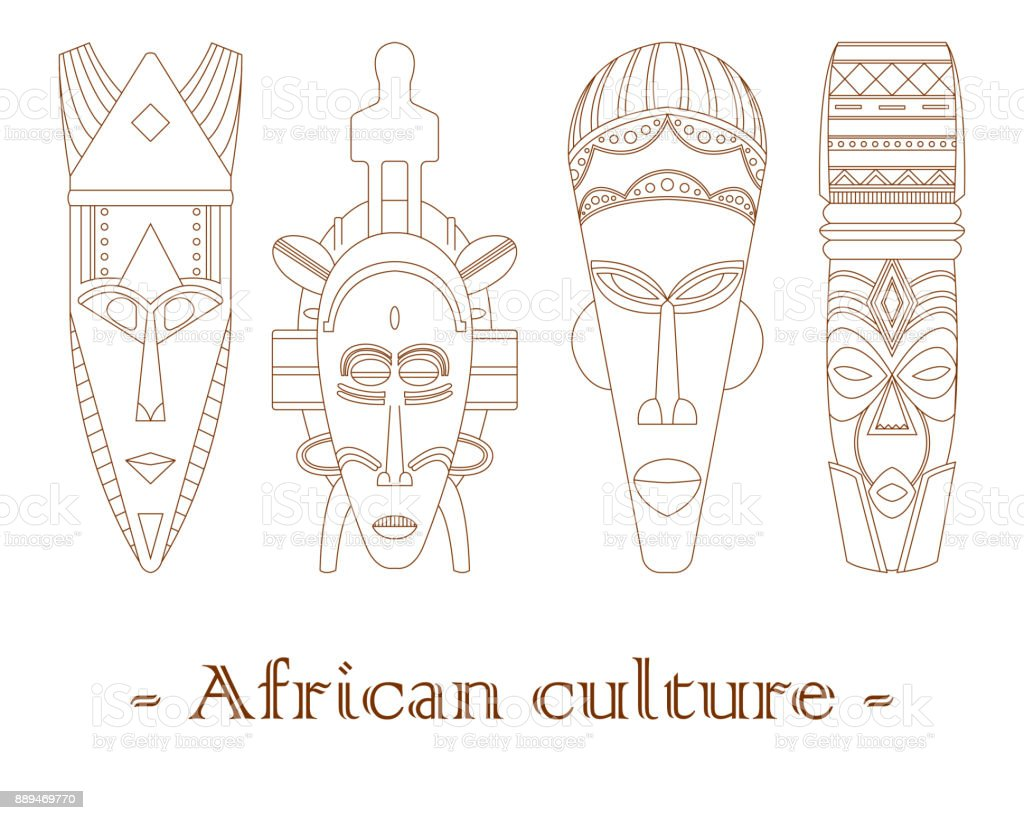 Set of four traditional African masks on a white background. vector art illustration