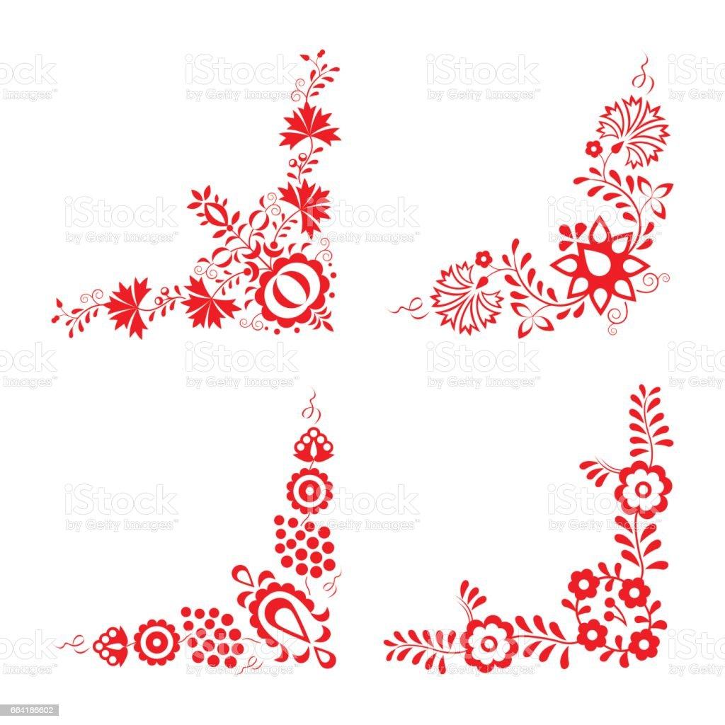 Set of four traditional folk ornaments, folk decorative pattern