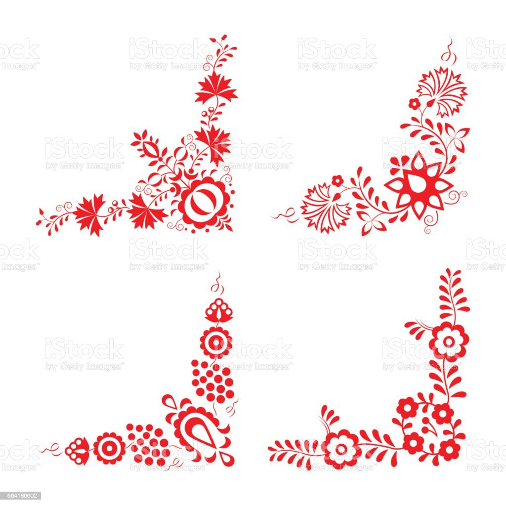 Set of four traditional folk ornaments, folk decorative pattern vector art illustration