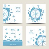 Set of four travel card templates. Square cards. Famouse places. Travel around the world vector illustration. Travelling by plane, airplane trip in various country. Flat icon modern design style poster. Travel banner. Travel agency round icon.