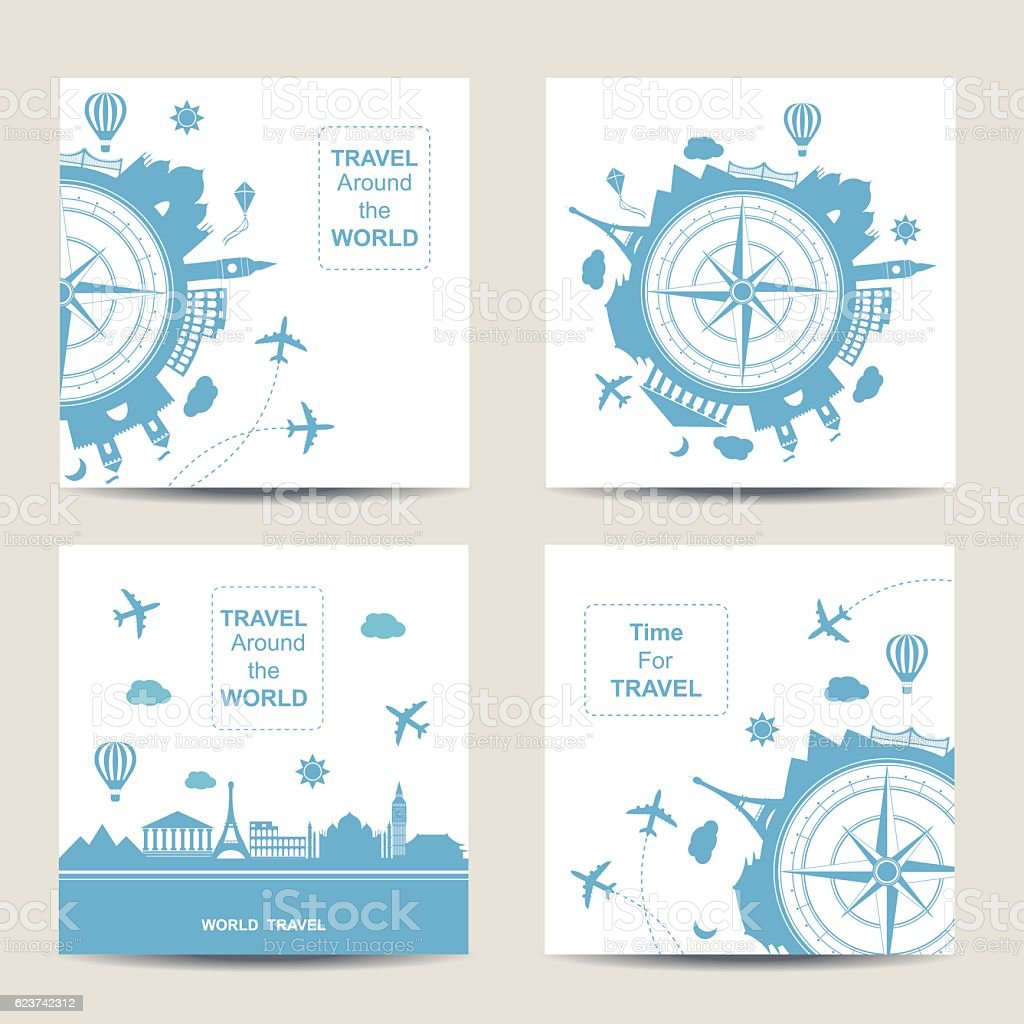 Set of four travel card templates. Square cards vector art illustration