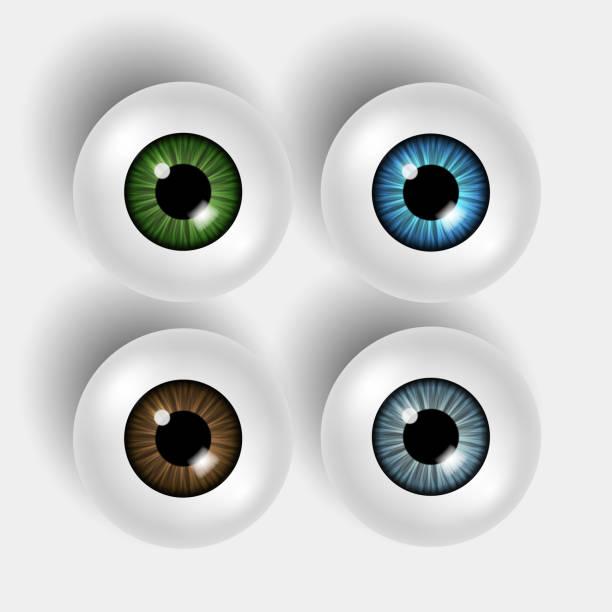set of four vector 3d shiny eyeballs with colorful iris on white background - глазное яблоко stock illustrations