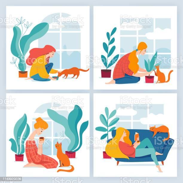 Set of four vector illustrations with girl and cat having time vector id1143020226?b=1&k=6&m=1143020226&s=612x612&h=b7pmqxtrlsno3nxv6bpxxaywdb33wchpq7qjgg6ma64=