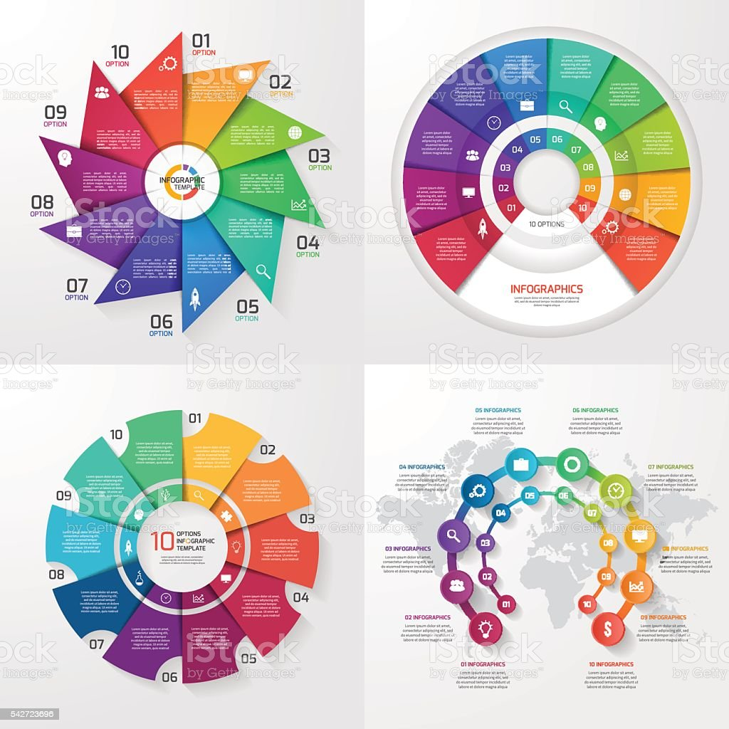 Set of four vector infographic templates. 10 options vector art illustration