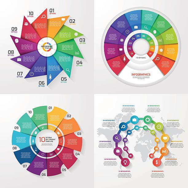 zestaw cztery wektor grafika informacyjna wzorów. 10 opcje - oś czasu pomoc wizualna stock illustrations