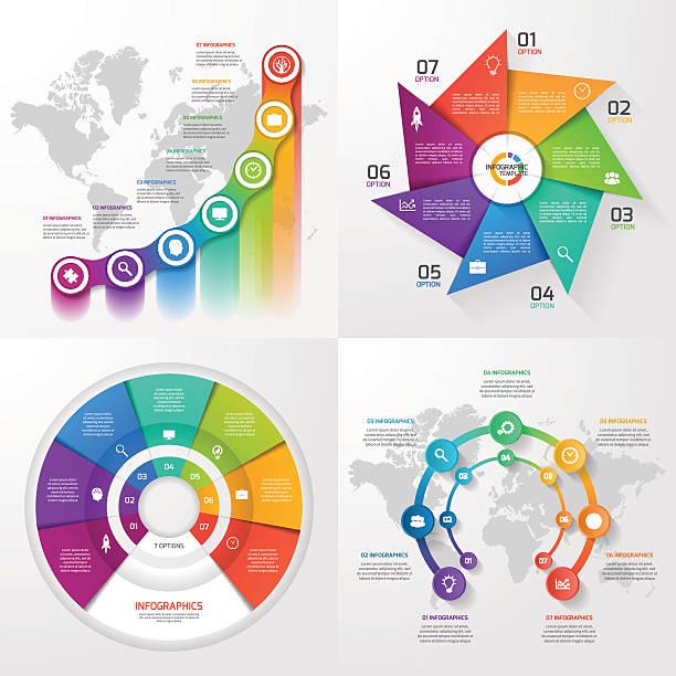 zestaw cztery wektor grafika informacyjna wzorów. 7 opcje - oś czasu pomoc wizualna stock illustrations