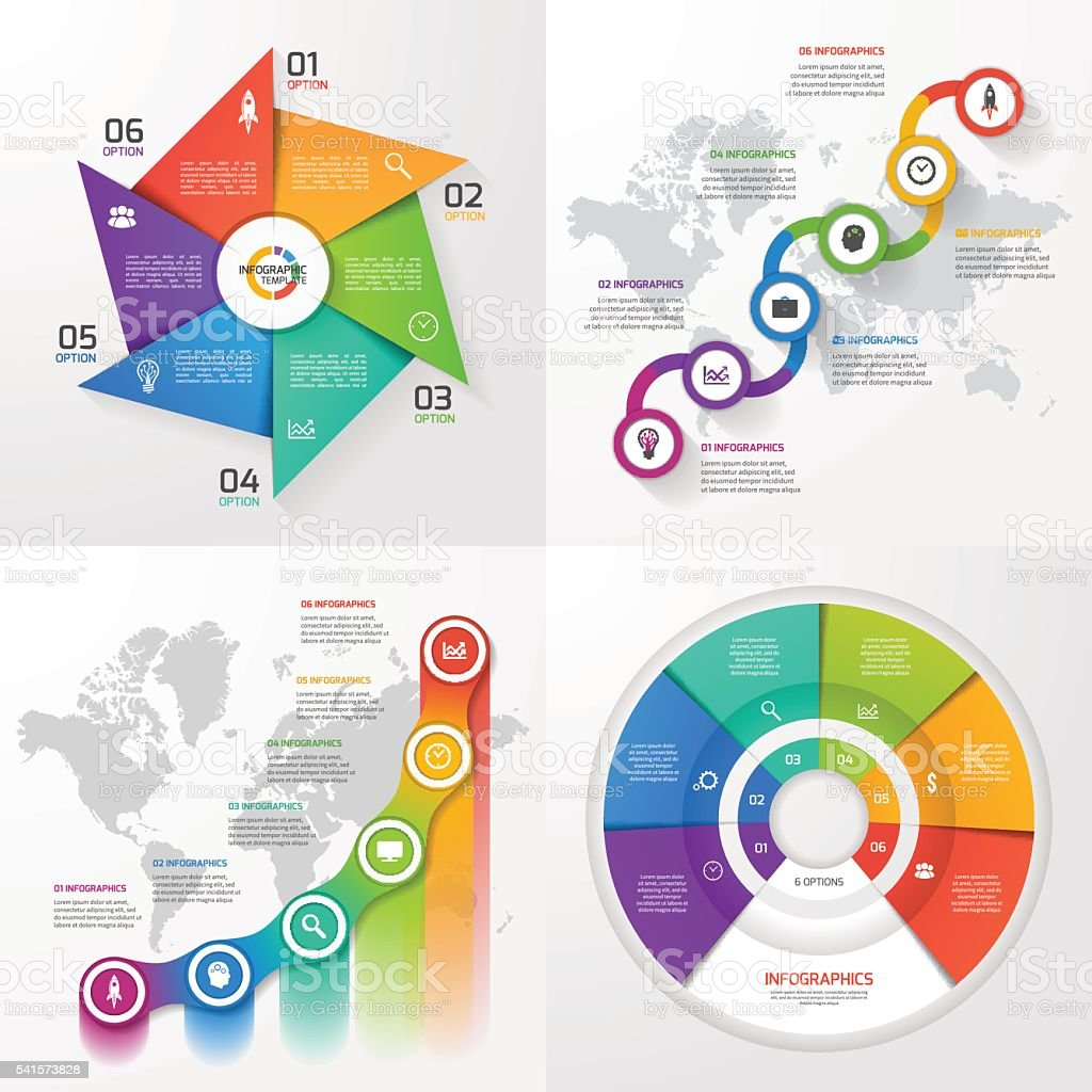 Set of four vector infographic templates. vector art illustration