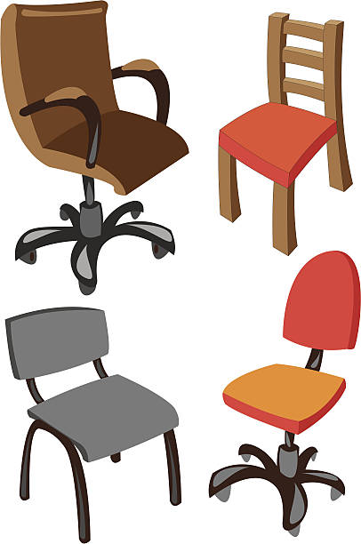 satz von vier vektor-bürostühlen, isoliert auf weißem hintergrund - stuhllehnen stock-grafiken, -clipart, -cartoons und -symbole