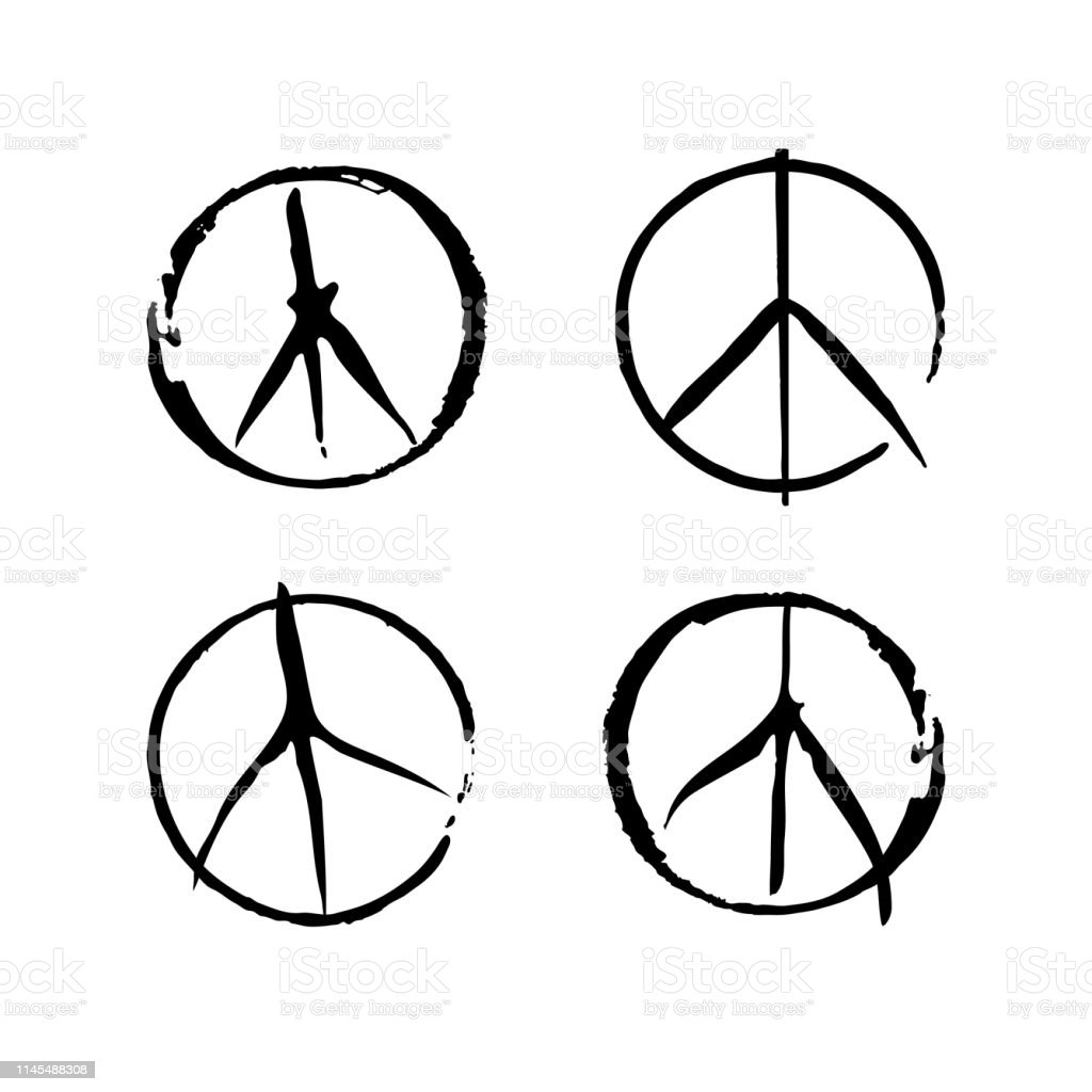 Set of four vector peace symbols. Sign pacifist, peace symbol, drawn...