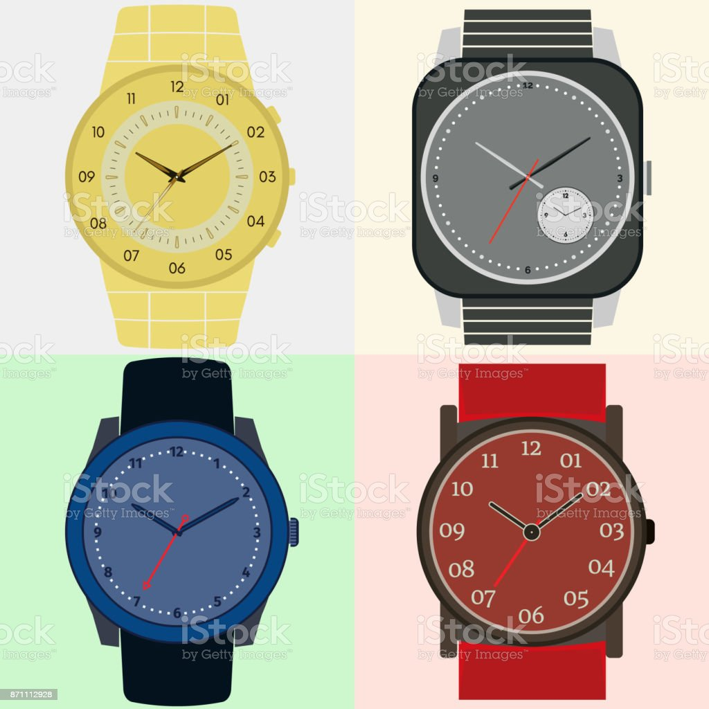 Set of four watches. Clock face with hour, minute and second hands vector art illustration