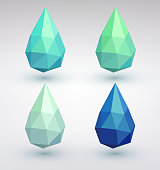 Set of four water drops. Geometric abstract background.