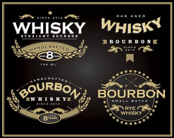 zestaw czterech wzorów i bourbon whisky etykieta - whisky stock illustrations