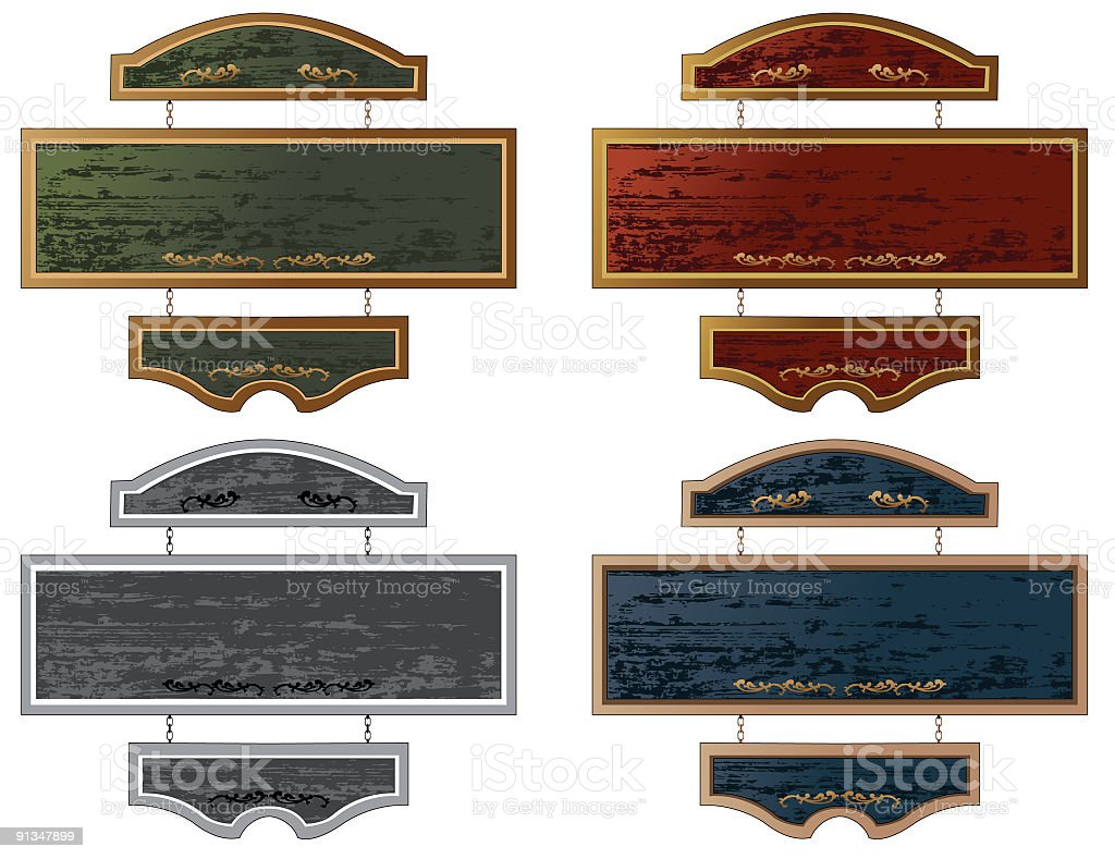 Set of Four Wooden Hanging Sign in different colors vector art illustration
