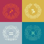 Set of four zodiac signs in outlined wreathes. Fire, Earth, Water, Air elements. Sagittarius (The Archer), Capricorn (The Sea-Goat), Aquarius (The Water-Bearer), Pisces (The Fish). Vector illustration