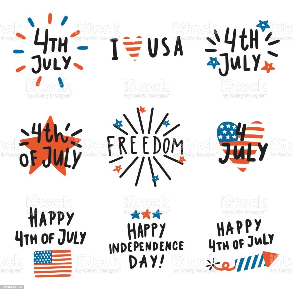 Set of Fourth July badges. vector art illustration