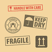 Set of fragile sticker handle with care and case icon packaging symbols sign, keep dry, do not litter and this side up rubber stamp on cardboard background, vector illustration. Use on package.