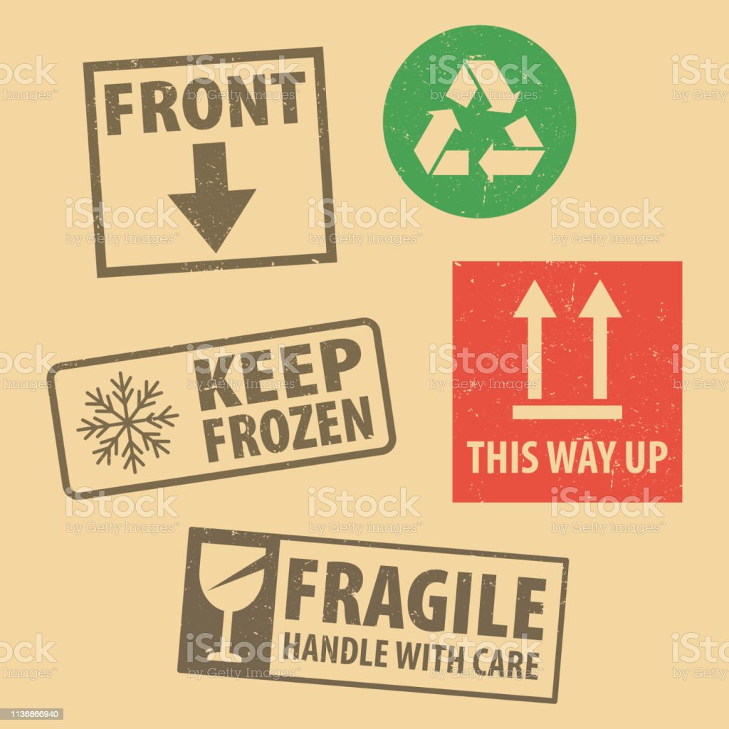 Set of fragile sticker handle with care and case icon packaging...