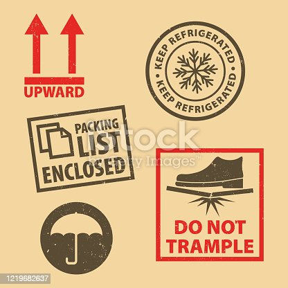 istock Set of fragile sticker Keep Refrigerated icon packaging symbols sign, Do Not Trample rubber stamp on cardboard background, vector illustration. Use on package. EPS10. 1219682637