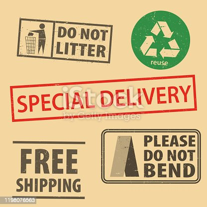 istock Set of fragile sticker special delivery and case icon packaging symbols sign, do not bend rubber stamp on cardboard background, vector illustration. Use on package. EPS10. 1198076563