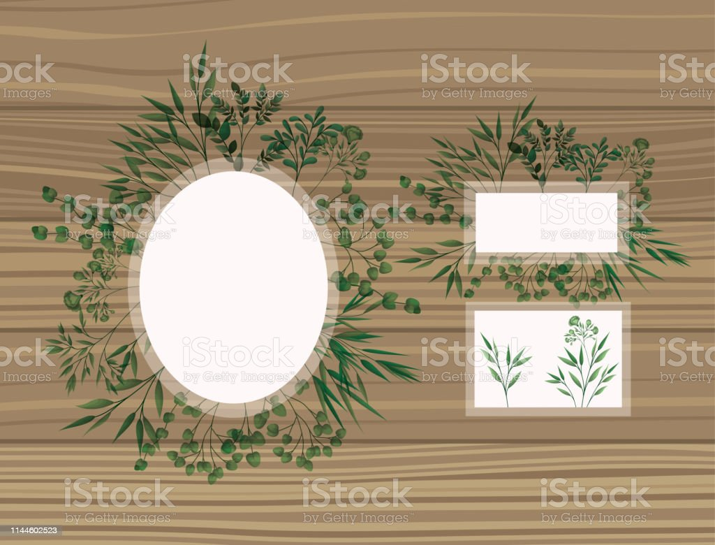set of frame with laurel leafs wooden background vector illustration