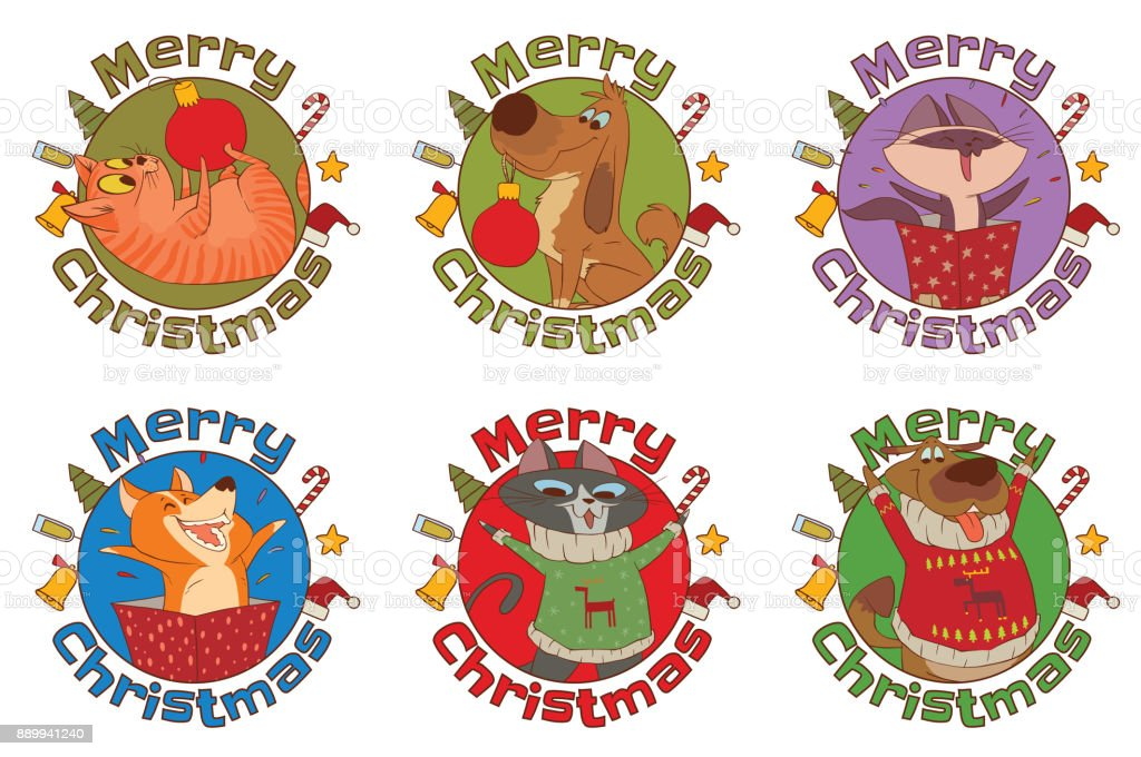 Set Of Frames Merry Christmas Cute Cats And Dogs Stock Vector Art ...