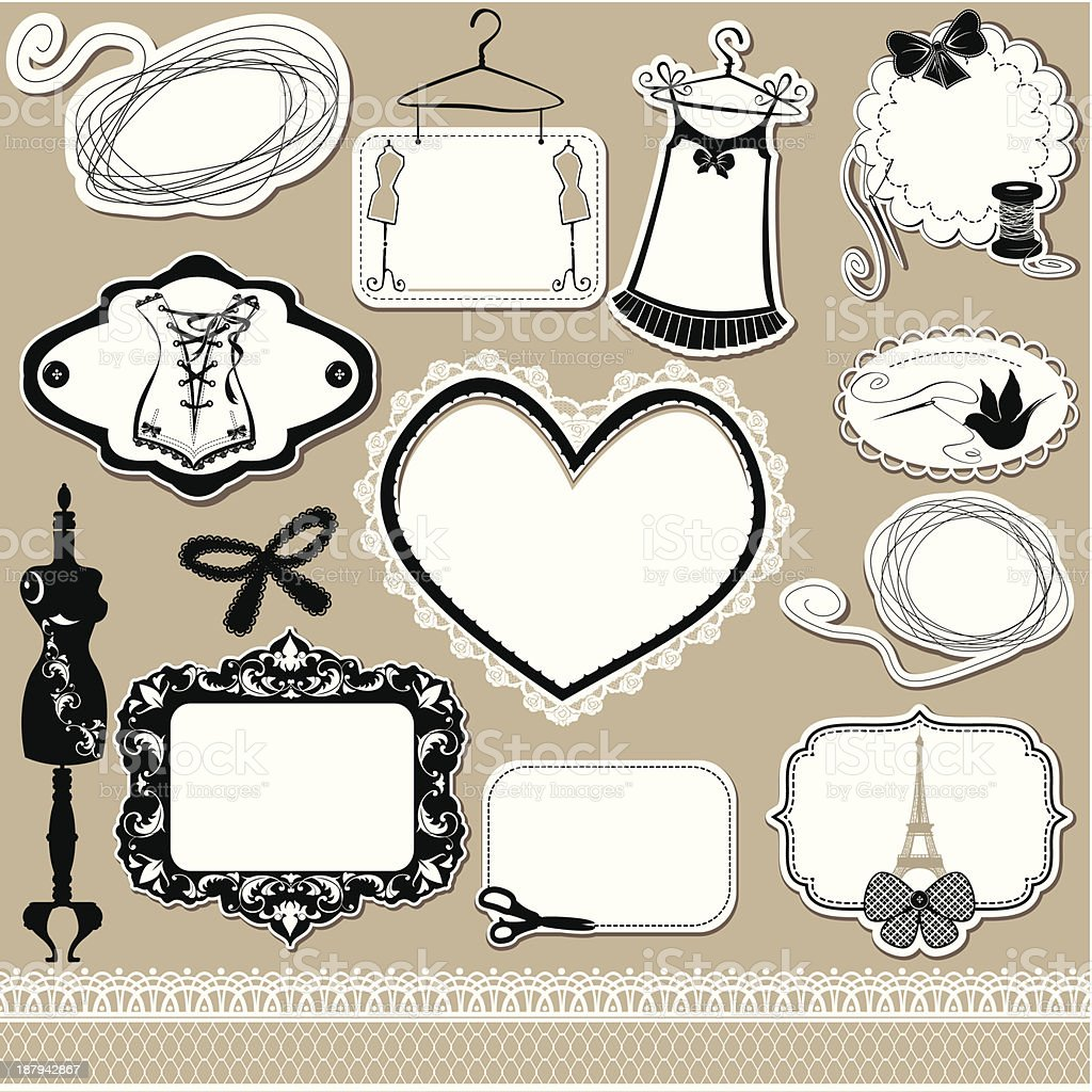 Set of frames, symbols, tools and accessories royalty-free stock vector art